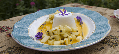 Apple salad with coconut panna cotta